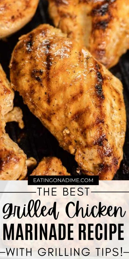 Check out the best grilled chicken marinade recipe with just a few ingredients that makes the best moist chicken breasts! Plus all the best grilling tips for the best grilled chicken breasts every time. #eatingonadime #chickenrecipes #grillingrecipes