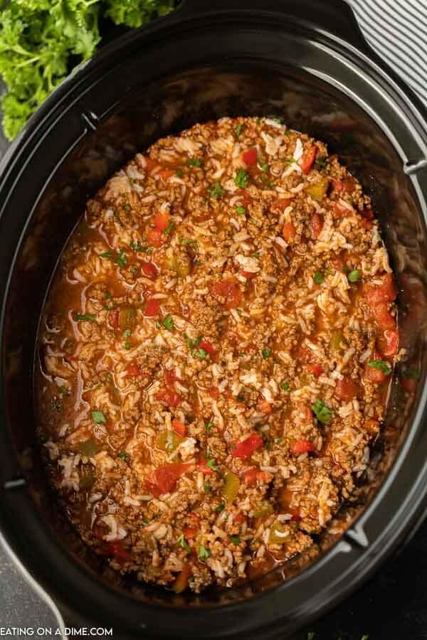 Close up image a stuffed pepper soup in a crock pot.