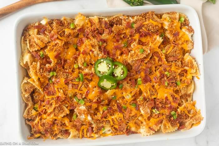 Close up image of a 9x13 pan of jalapeno popper chicken casserole.