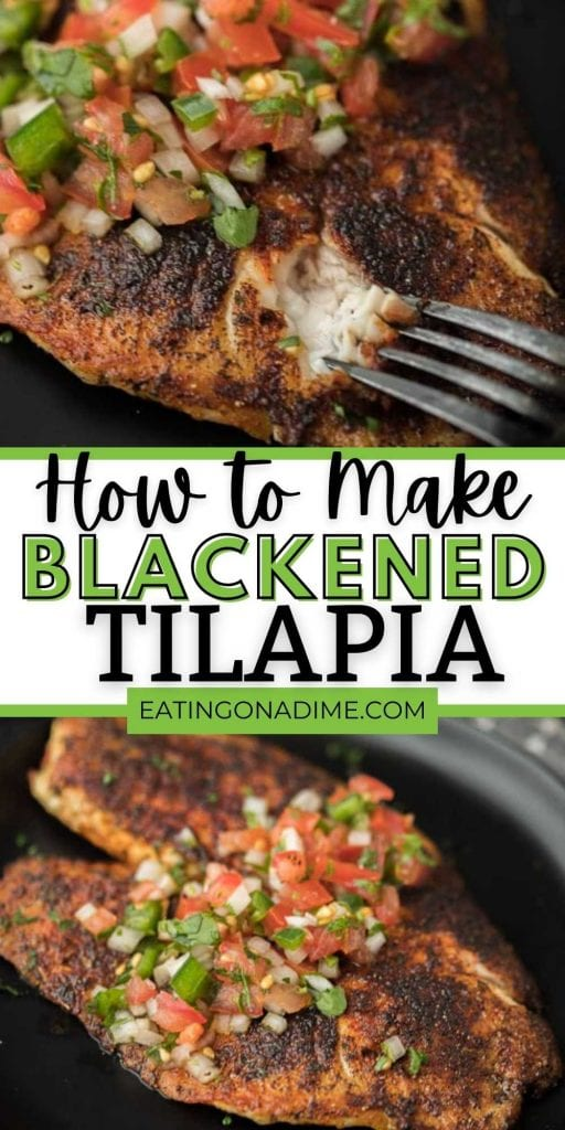 Looking for easy fish recipes? Try this quick and easy blackened tilapia recipe made on the stove top. It is amazing! In just 6 minutes dinner is done with this homemade pan fried blackened tilapia recipe.  #eatingonadime #fishrecipes #seafoodrecipes #blackenedrecipes