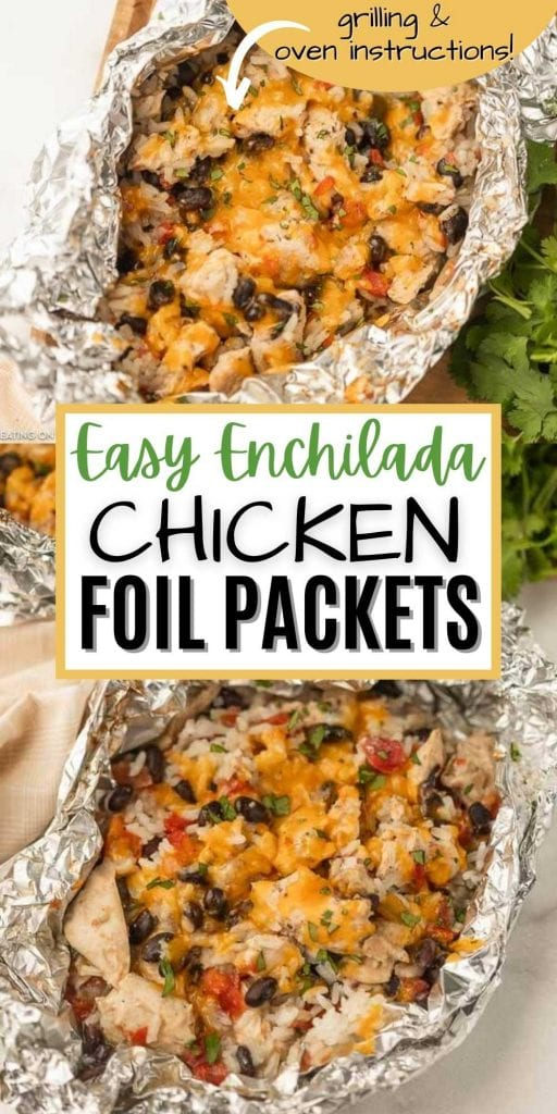 This easy chicken enchilada foil packet meal will be a hit with the entire family! Easy chicken enchilada foil dinner is packed with yummy chicken, cheese, beans and more! Try Easy chicken enchilada foil packet recipe. Cleanup is a breeze too!  #eatingonadime #grillingrecipes #mexicanrecipes #chickenrecipes