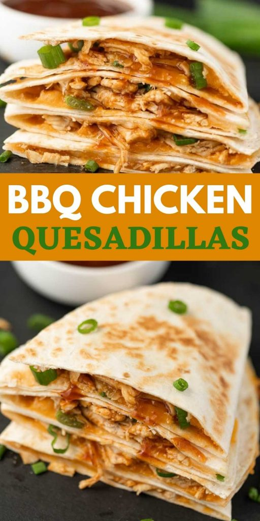 BBQ Chicken Quesadillas are easy to make and delicious too! Stuffed with shredded chicken, lots of cheese, and BBQ sauce they'll be a hit at any party or with your next family dinner! #eatingonadime #chickenrecipes #easyrecipes #quesadillarecipes