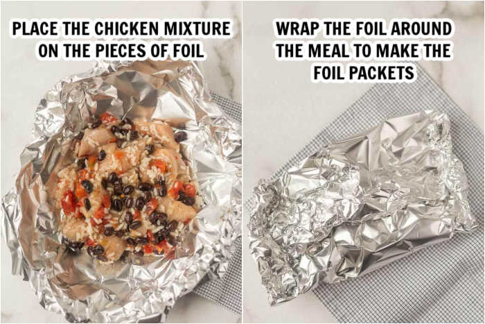 The chicken mixture on top of a piece of foil and then another photo showing the foil wrapped into a foil packet ready to grill