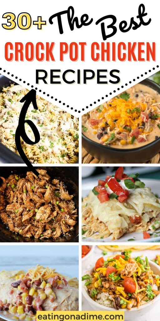 Crock pot chicken recipes will make dinner time easy and delicious. From soups and casseroles to Mexican food and more, try easy slow cooker chicken recipes that are healthy too!  #eatingonadime #crockpotrecipes #slowcookerrecipes #chickenrecipes