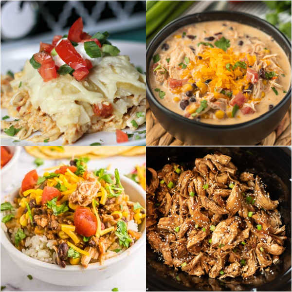 Slow Cooker chicken recipes will make dinner time easy and delicious. From soups and casseroles to Mexican food and more, try easy crock pot chicken recipes that are healthy too!  #eatingonadime #crockpotrecipes #slowcookerrecipes #chickenrecipes