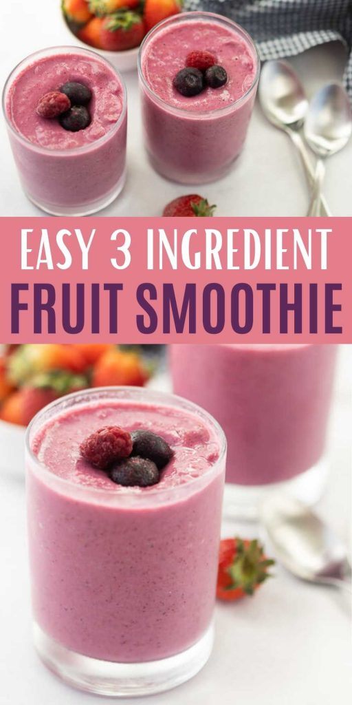 This Easy Fruit Smoothie Recipe only has 3 simple ingredients. Try this for breakfast, snacks and anytime you need something quick. You will love this simple and easy to make fruit smoothie that is healthy and great for kids too!  You make easily make this fruit smoothie from frozen too!  #eatingonadime #fruitrecipes #smoothierecipes