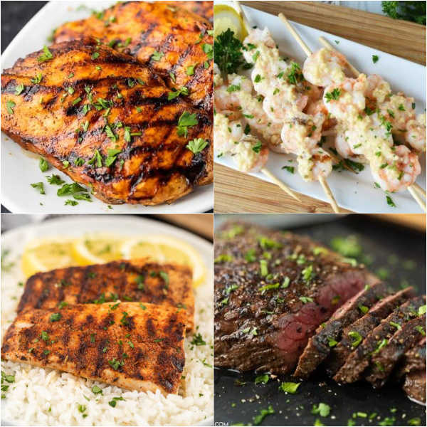 4 Photos of grilling recipe - grilled chicken, grilled shrimp, grilled mahi mahi and grilled London Broil