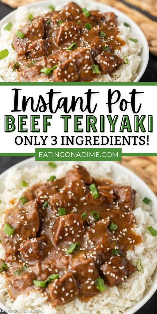 Turn inexpensive beef into tender and flavor packed Instant pot beef teriyaki recipe. Skip take out and make this easy teriyaki beef and rice instead.  You're going to love this pressure cooker teriyaki beef tips.  This is the easiest way to enjoy stir fry! #eatingonadime #instantpotrecipes #beefrecipes #pressurecookerrecipes
