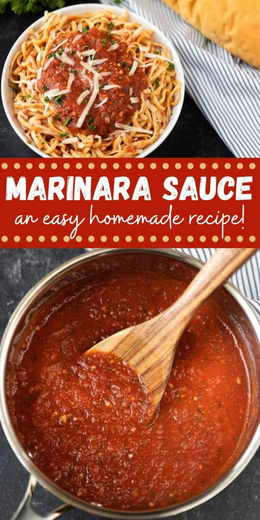 This homemade marinara sauce recipe is easy to make in only 15 minutes. This easy recipe is gluten-free and is the best and the easiest homemade marinara sauce made with canned tomatoes. #eatingonadime #marinararecipes #saucerecipes #Italianrecipes
