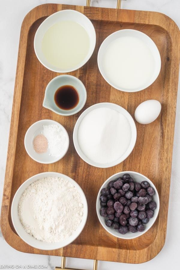 Ingredients to make blueberry muffins