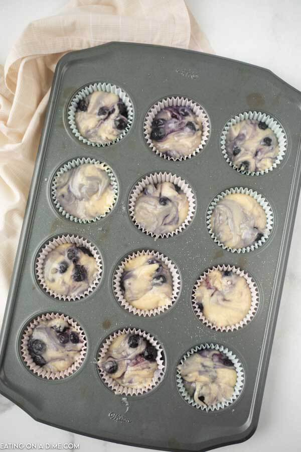 The batter in a the muffin tin.