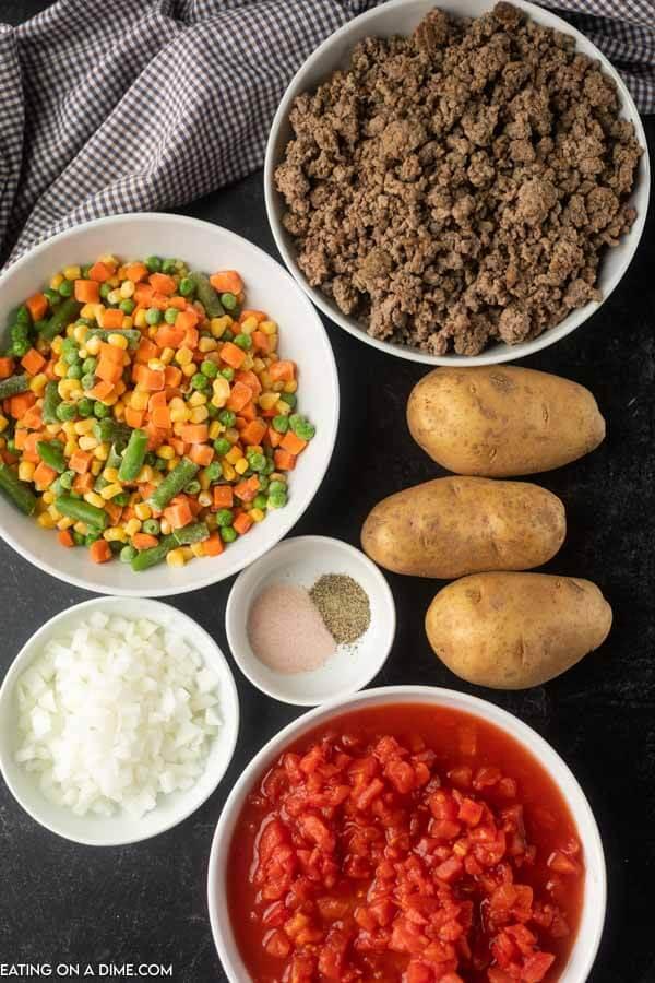 Ingredients to make Crock Pot Vegetable Beef Soup