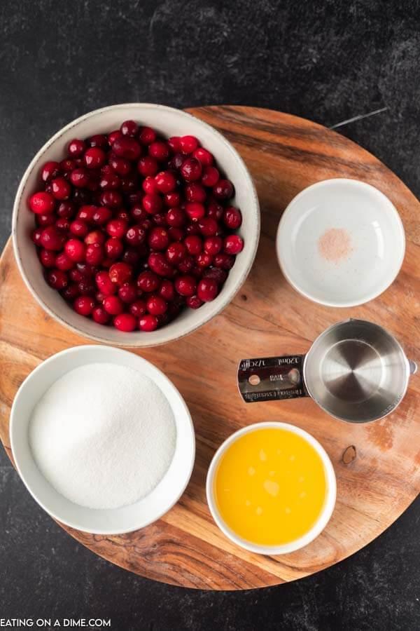 ingredients for recipe: cranberries, sugar, salt, orange juice, water