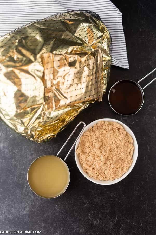 ingredients for recipe: ham, brown sugar, pineapple juice, honey