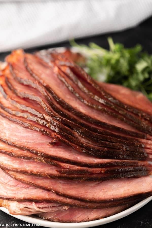 up close photo of spiral ham