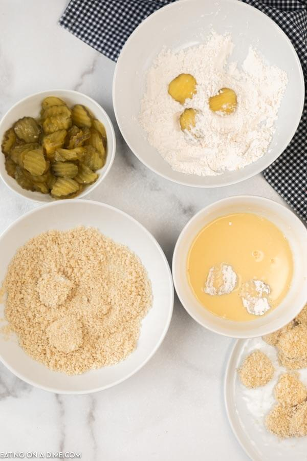 pickles coated in egg and flour mixture