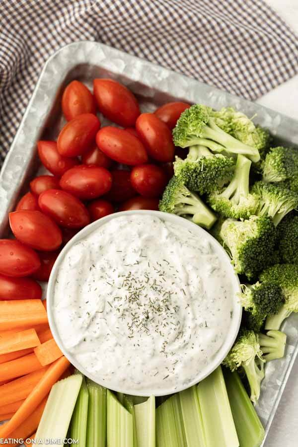 vegetable tray with a bowl of ranch dip