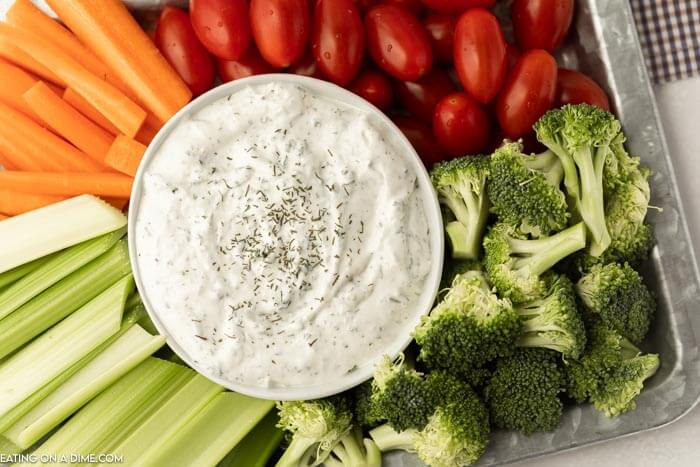 vegetable platter with a bowl of ranch