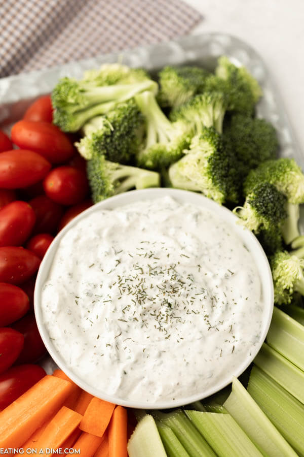 ranch dip in a bowl on a vegetable platter