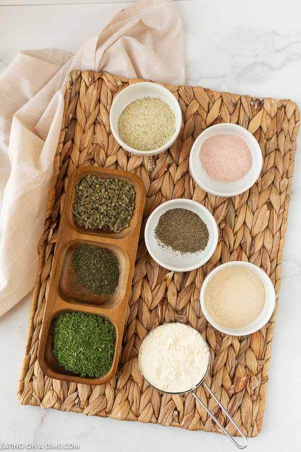 Ingredients needed to make this homemade ranch seasoning mix.
