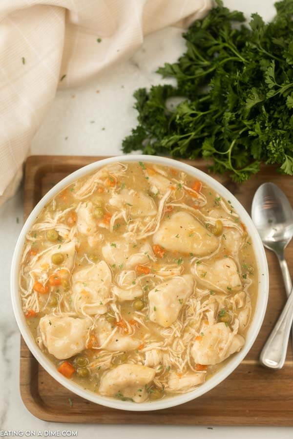 bowl of chicken and dumplings on tray