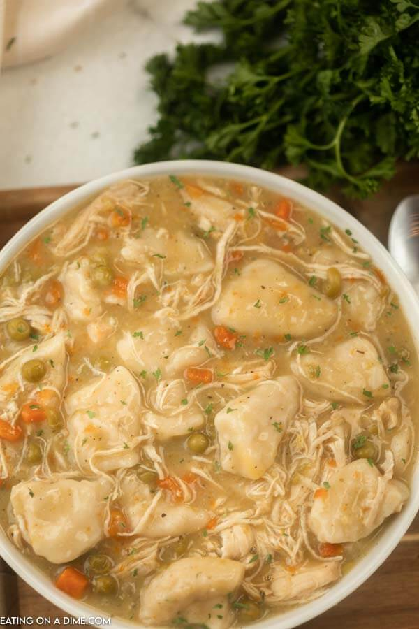 bowl of chicken and dumplings
