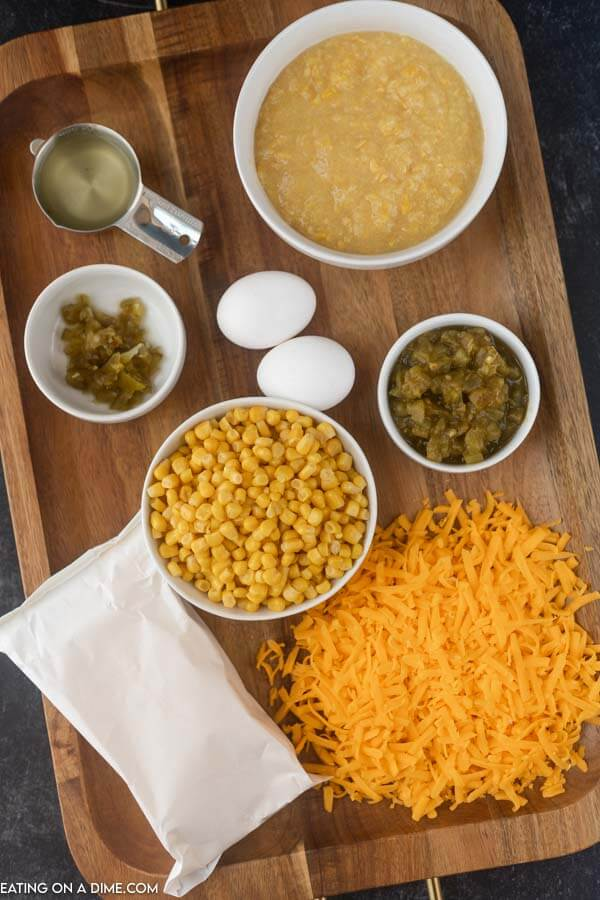 ingredients for corn casserole: cream corn, green chilies, cheese, jalapenos