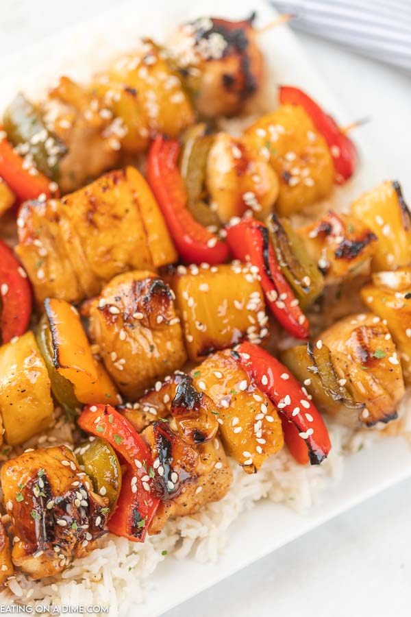 closeup photo of chicken kabobs on a plate