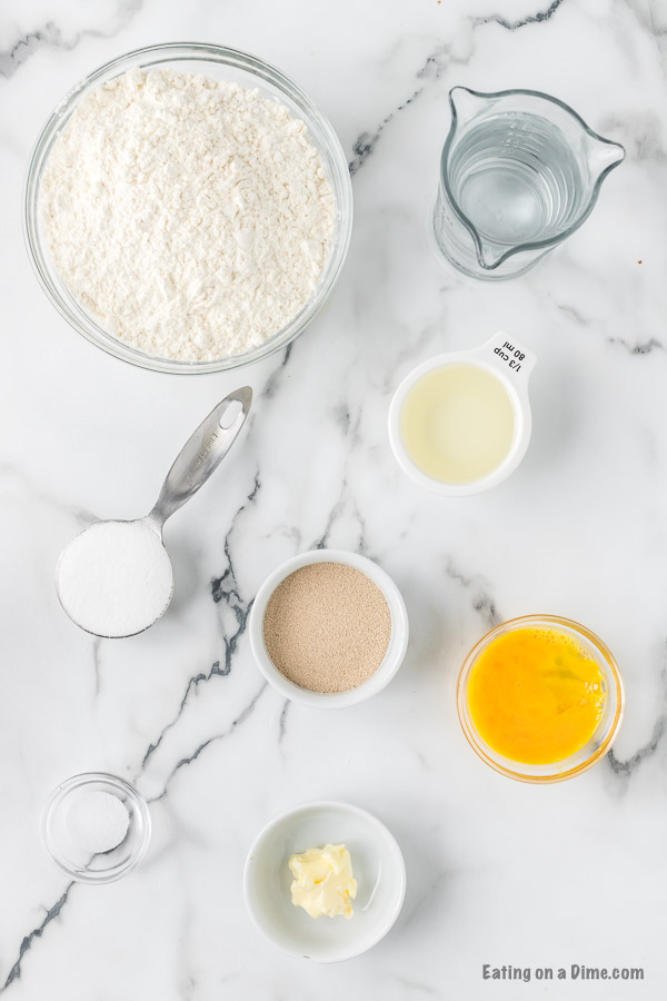 ingredients for recipe: flour water, oil, yeast, butter, sugar.