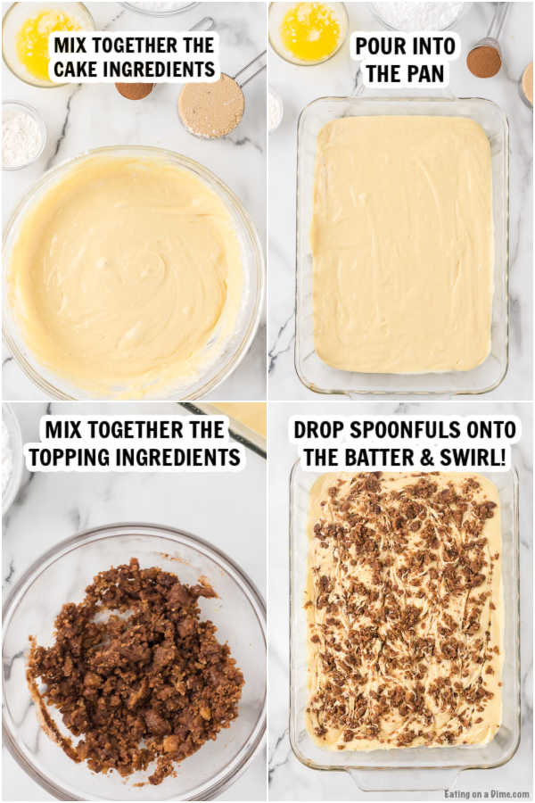 4 photos showing how to make the cake.  The 1st photo shows the cake batter being mixed in a bowl.  The 2nd photos shows the cake batter in a pan.  The 3rd photo shows the topping being mixed in a bowl and the 4th photo shows the topping being swirled into the cake batter