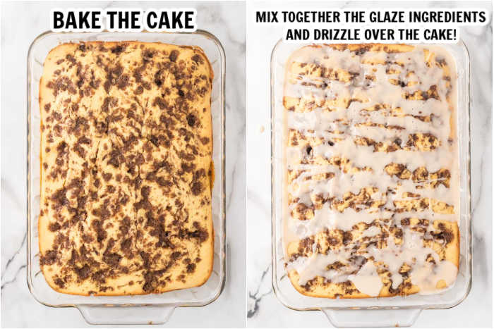 A collage of 2 photos.  The 1st photo is an overview after the cake has been baked.  The second photo is the baked cake with the glaze drizzled over the top of it.