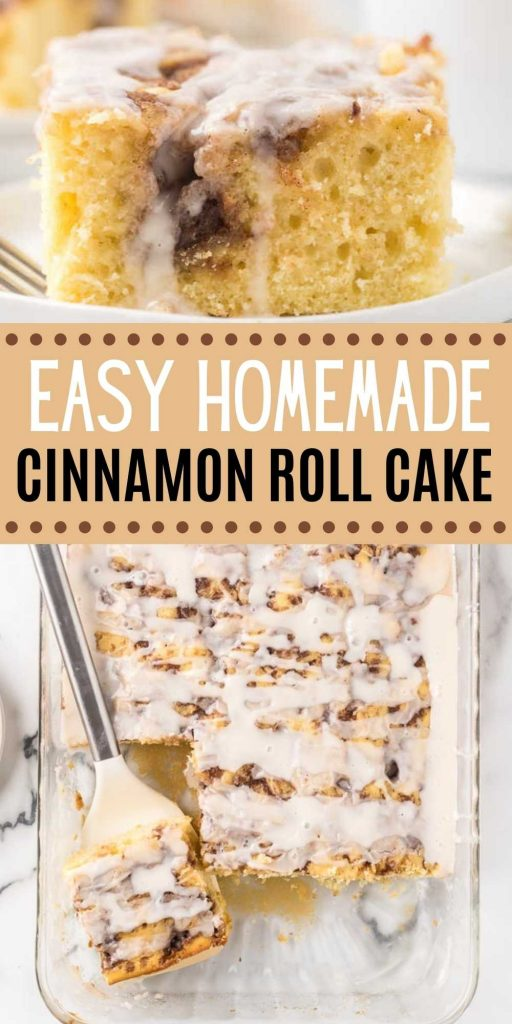 Here is a fun twist on a coffee cake recipe. This easy cinnamon roll cake recipe is the best and easy to make too! Get the taste of homemade cinnamon rolls without all the work with this easy cinnamon roll cake recipe! #eatingonadime #cakerecipes #breakfastrecipes #cinnamonrecipes