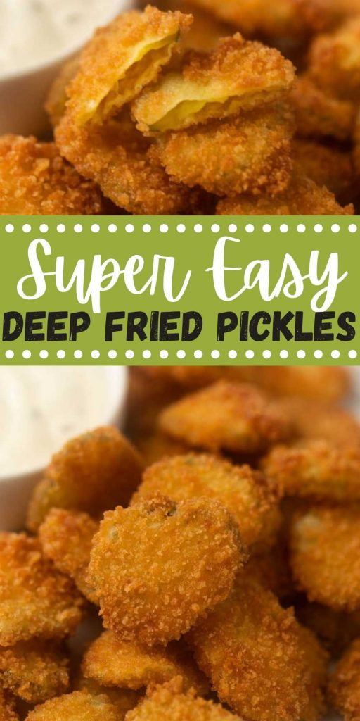 Homemade Deep Fried Pickles will be a huge hit appetizer that you will want to make again and again! These homemade fried pickles with an easy batter are super easy to make and delicious too! You will love this easy fried pickles recipe! #eatingonadime #appetizerrecipes #friedpickles #deepfriedpickles