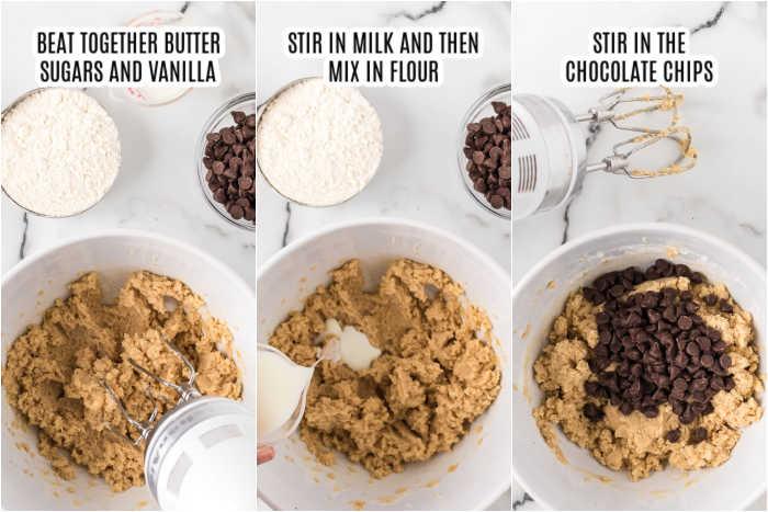 3 photos of making edible cookie dough balls