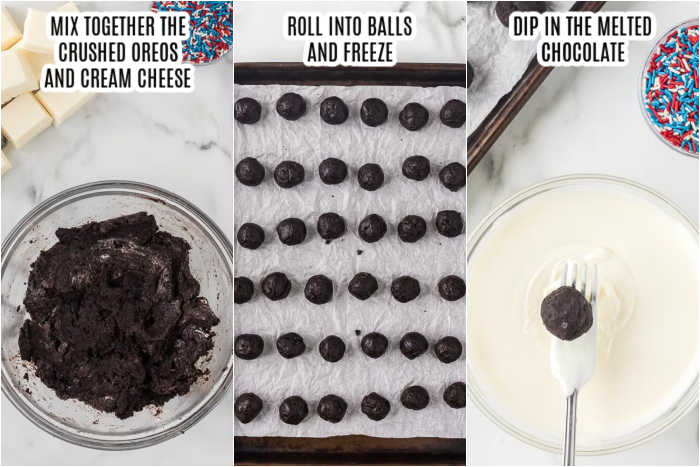 3 pictures - mix together the crushed oreos and cream cheese, roll into balls and freeze, dip in the melted chocolate.