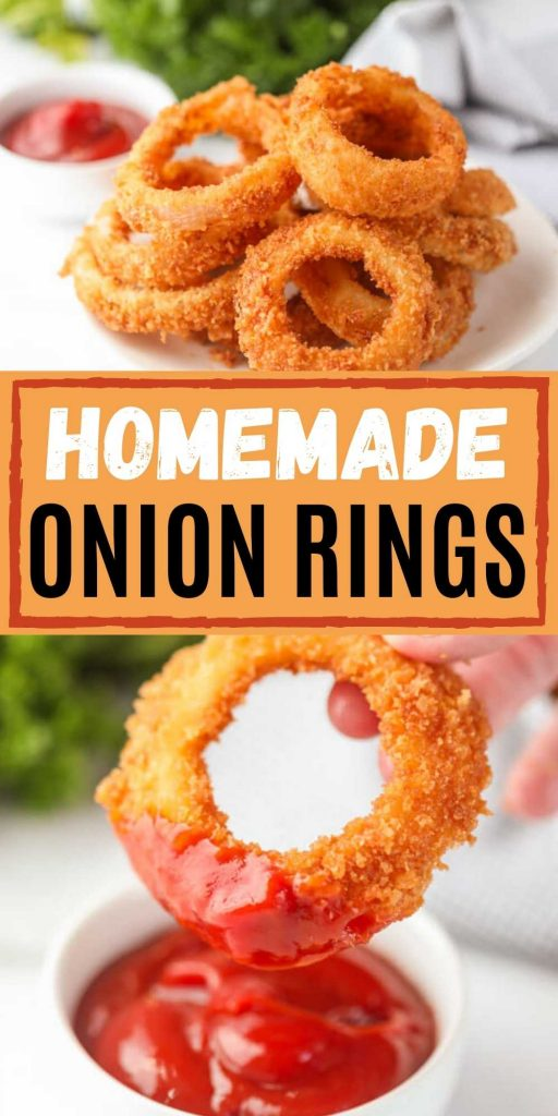 Homemade Fried Onion Rings will be a huge hit appetizer that you will want to make again and again! These homemade onion rings with an easy batter are simple to make and delicious too! You will love this easy onion ring recipe! #eatingonadime #appetizerrecipes #homemadeonionrings