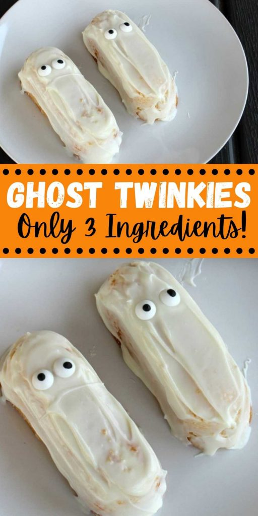 Try these ghost Twinkies! They make the perfect Halloween treats for kids. They're super easy to make with only 3 ingredients and are a great Halloween dessert! The entire family will love these Halloween Ghost desserts that are perfect for your next Halloween party! #eatingonadime #halloweendesserts #twinkiedesserts #ghostdesserts