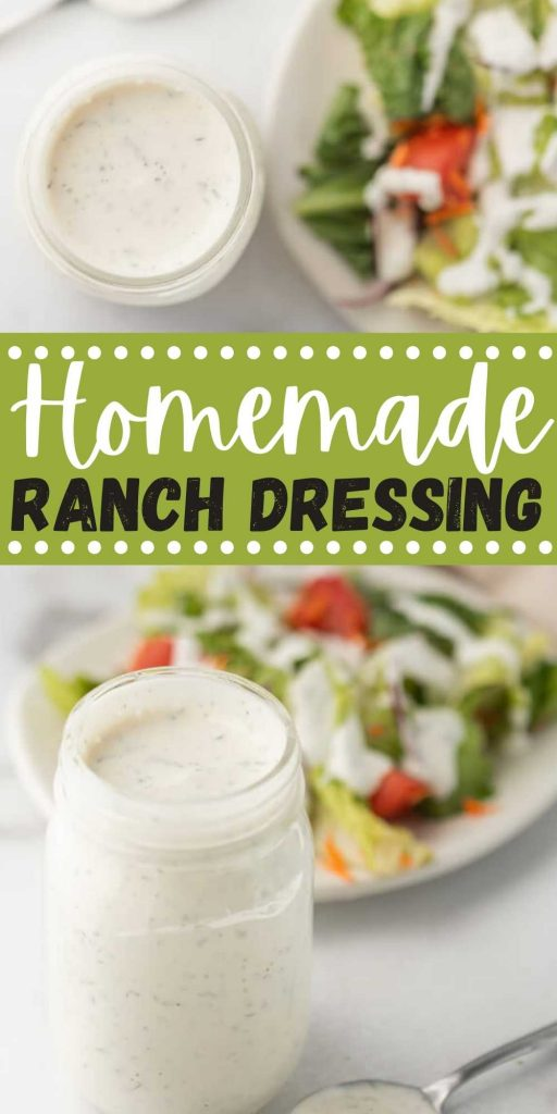 This delicious homemade buttermilk ranch dressing is easy to make in minutes and tastes better than the store bought version! You are going to love this homemade ranch dressing!  #eatingonadime #ranchdressing #saladdressingrecipes #dressingrecipes