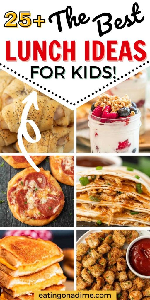 We have Easy lunch ideas for kids that will make lunch time a breeze. All of these easy tasty lunch ideas are frugal, quick and so delicious. Everyone will love these easy lunch ideas for kids!  #eatingonadime #lunchrecipes #lunchideas #kidlunches