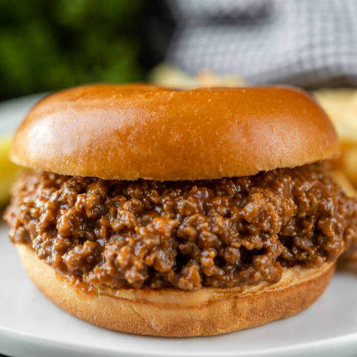 Close up image of sloppy joes on a bun.