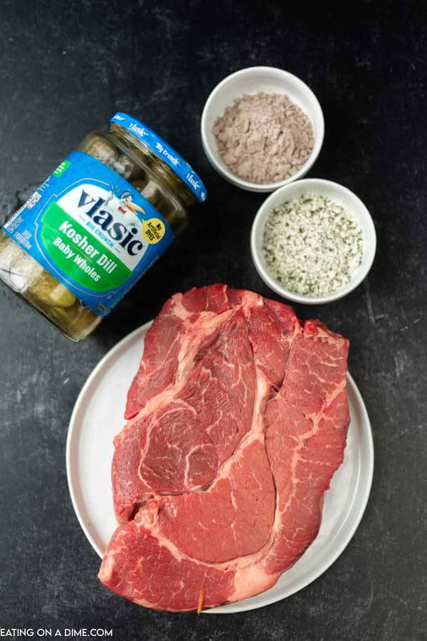 ingredients for recipe: roast, pickles, ranch, gravy mix.
