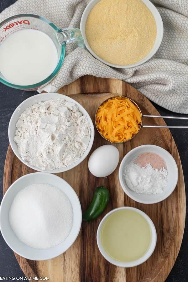 Close up image of ingredients to make Gluten Free Jalapeno Cheddar Cornbread.