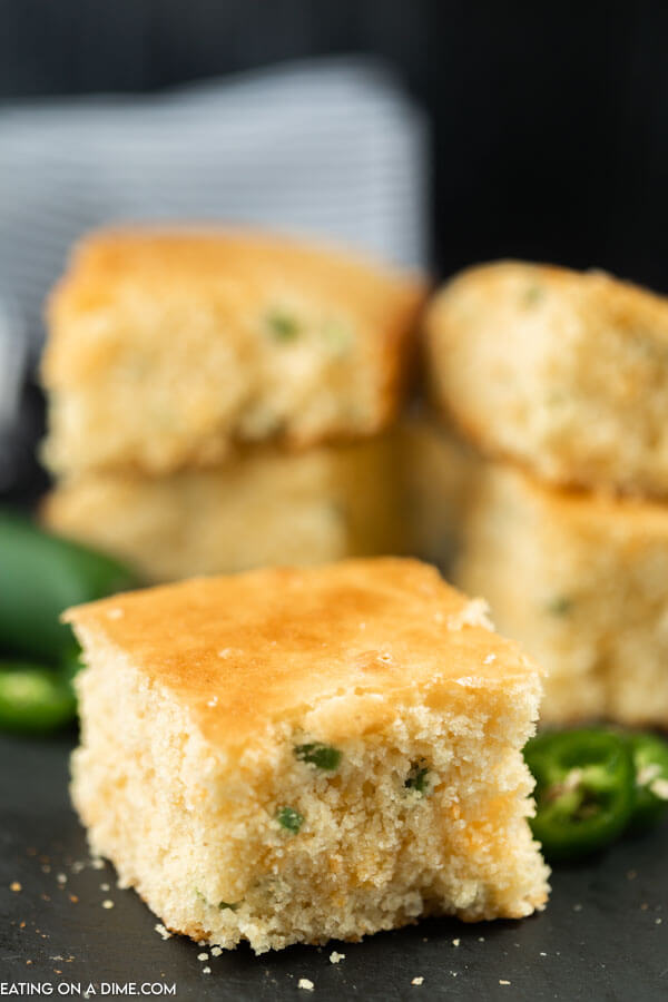 Close up image of a piece of Gluten Free Jalapeno Cheddar Cornbread.