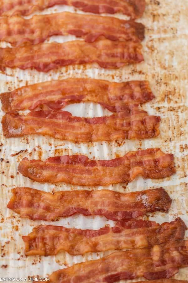 crispy bacon on parchment paper