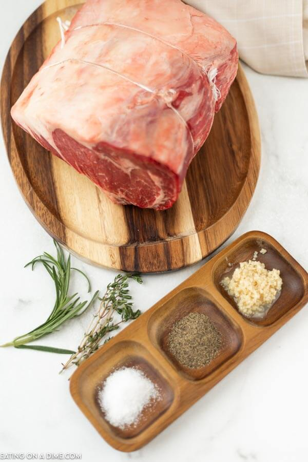 ingredients needed for recipe: prime rib, minced garlic and seasoning.