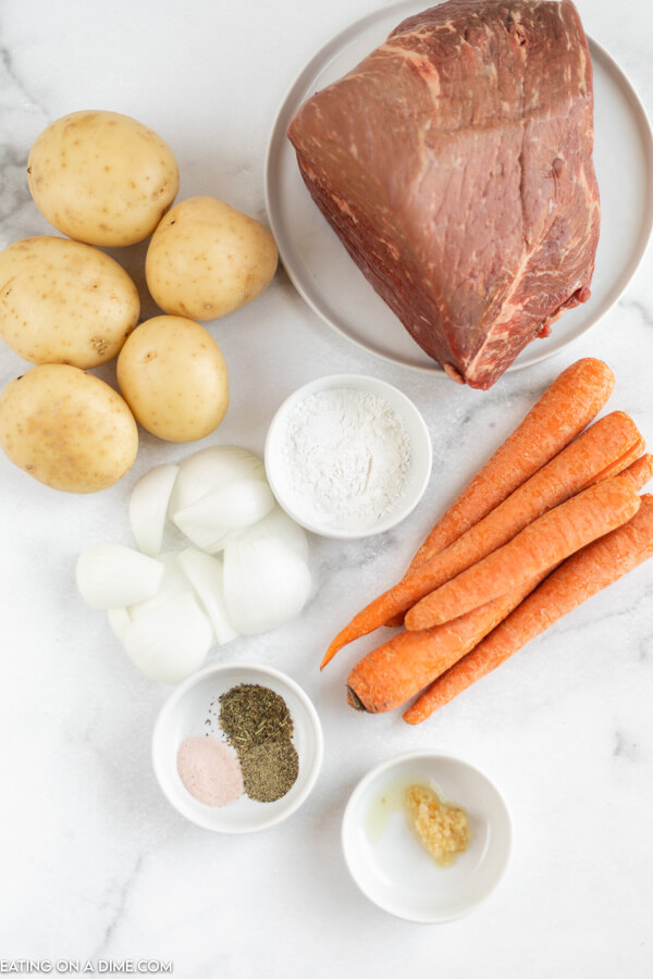 ingredients for recipe: rump roast, potatoes, carrots, onion, seasoning.