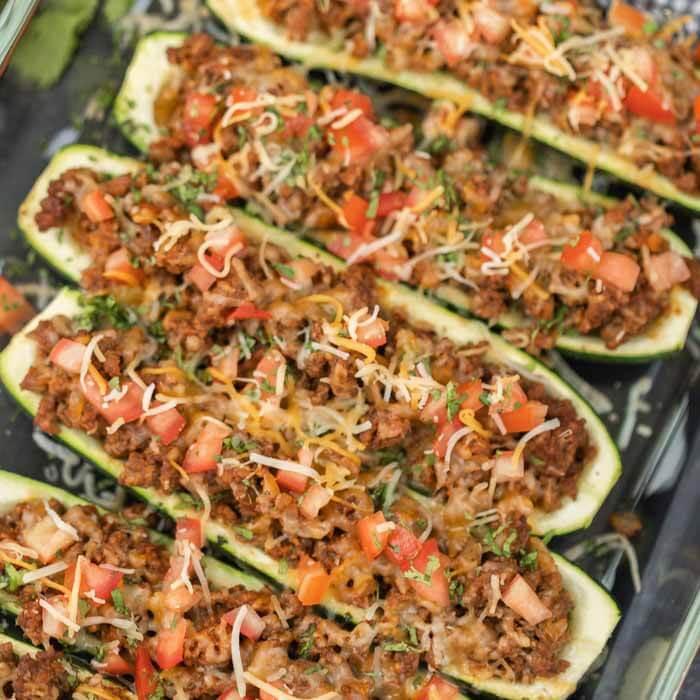 close up  photo of zucchini boats