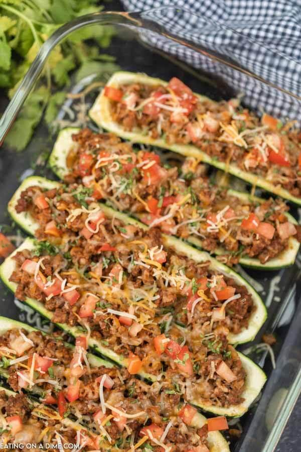 zucchini boats in dish