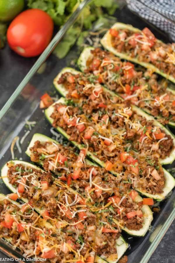 zucchini boats in glass dish