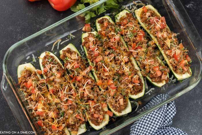 zucchini boats in baking dish